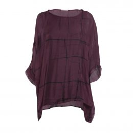 Burgundy Grid Wendy Silk Top