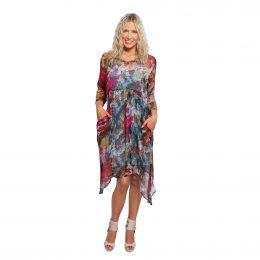 Silk V Neck Dress Winter Garden Model Shot Front