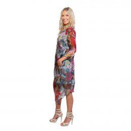 Silk V Neck Dress Winter Garden Model Shot Side