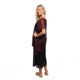 Elizabeth Silk Top Burgundy Grid Side View