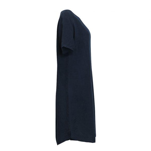 Linen T-Shirt Dress Ink Side View