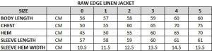 Raw Edge Linen Jacket Size Chart