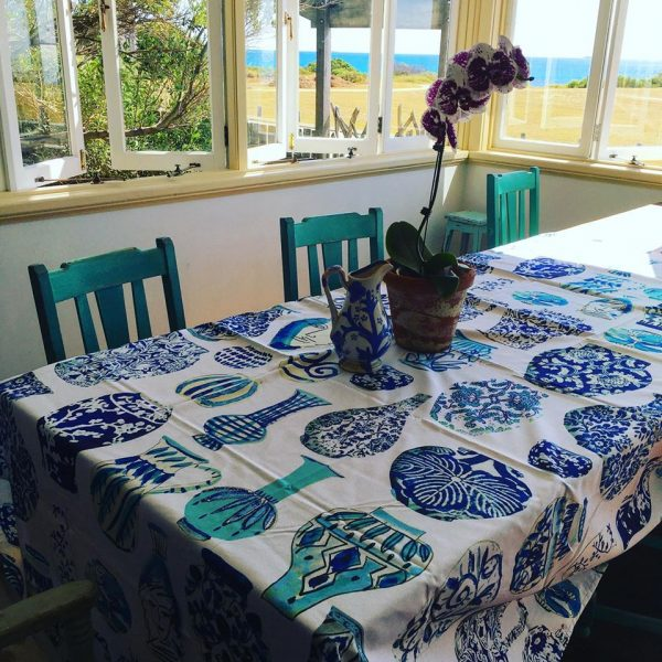 Vases Blue and White Canvas Tablecloth Anna Chandler