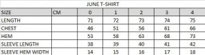 June T-shirt Size Chart