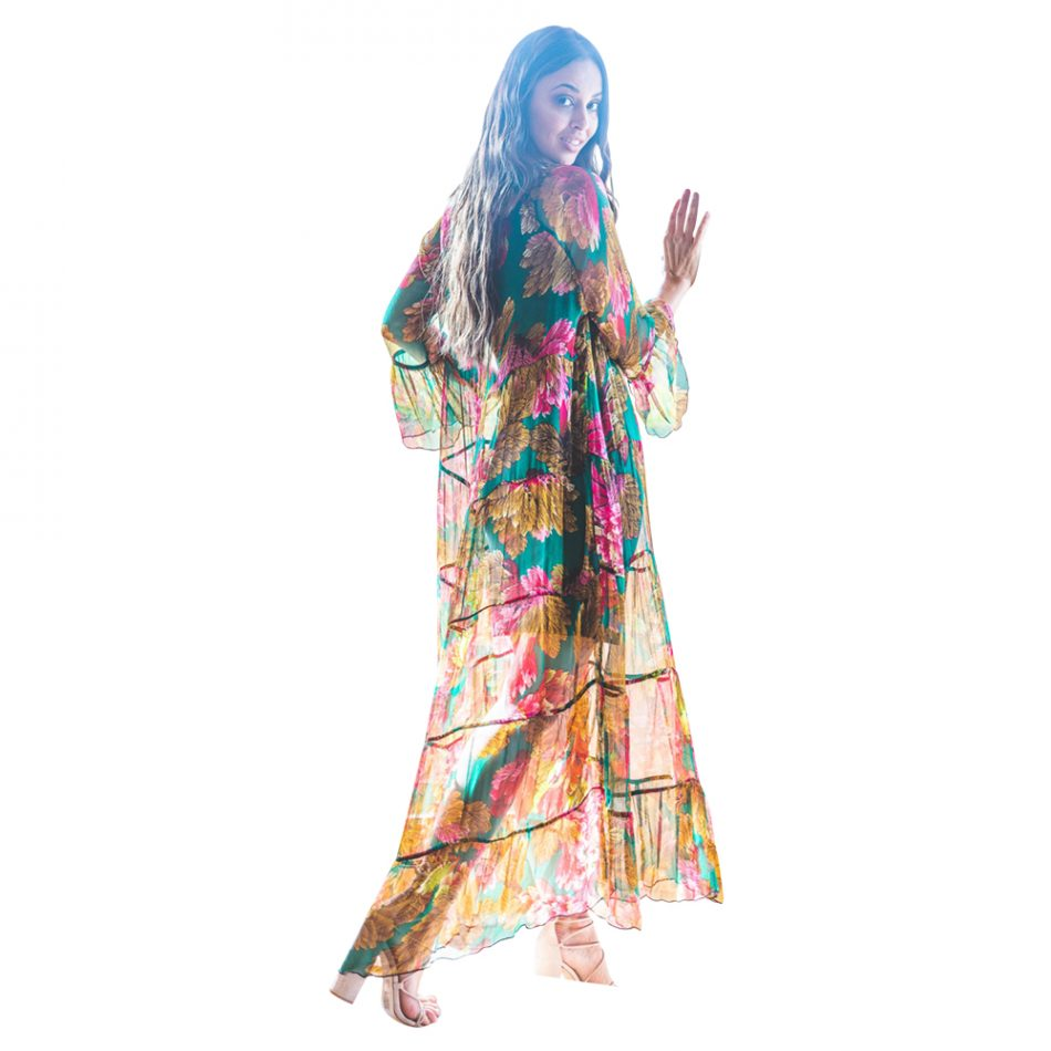 silk jacket, tiered maxi, maxi dress, wings of desire, printed silk