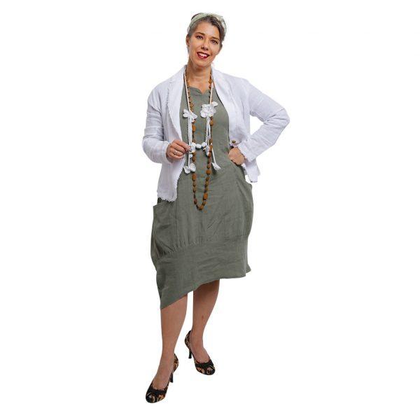 Lily Linen Dress Sage + White Jasper Jacket