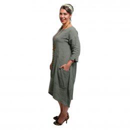 Lily Linen Dress Sage Side