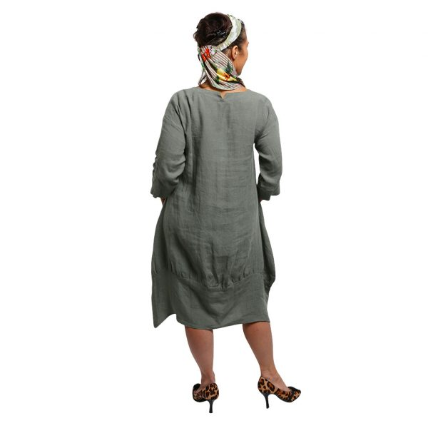 Lily Linen Dress Sage Back