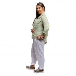 Raw Edge Linen Jacket - Leaf