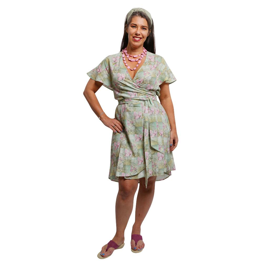 WRAP DRESS SPRING PATCHWORK F