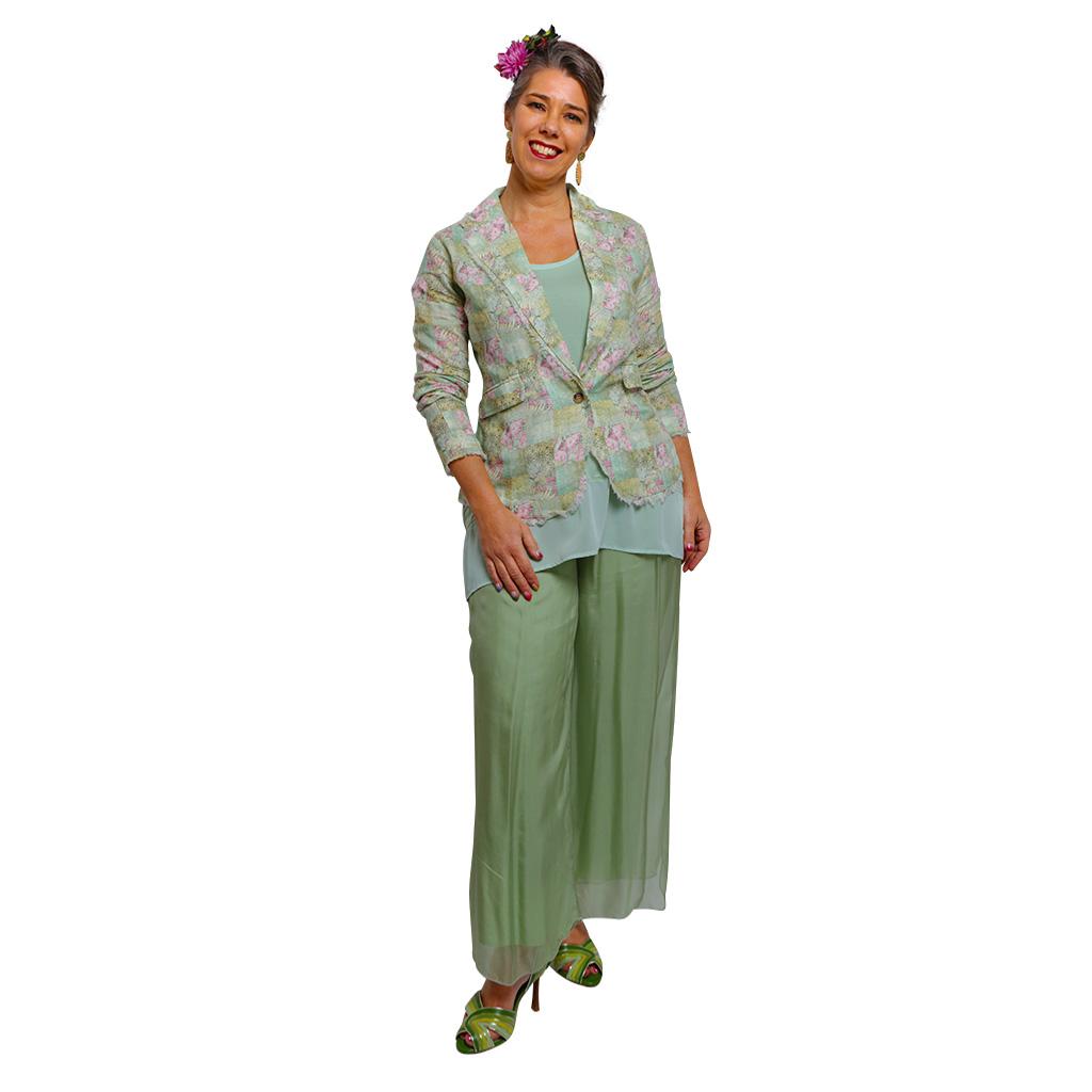 Silk Pants in Sage