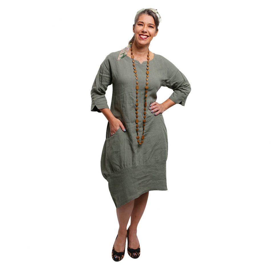 Lily Linen Dress Sage