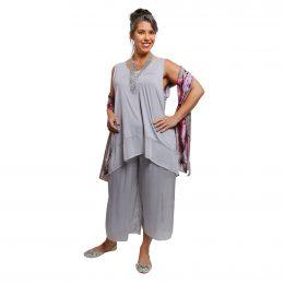 Silk Pants 7/8 Silver