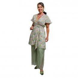 Linen Wrap Dress - Spring Patchwork