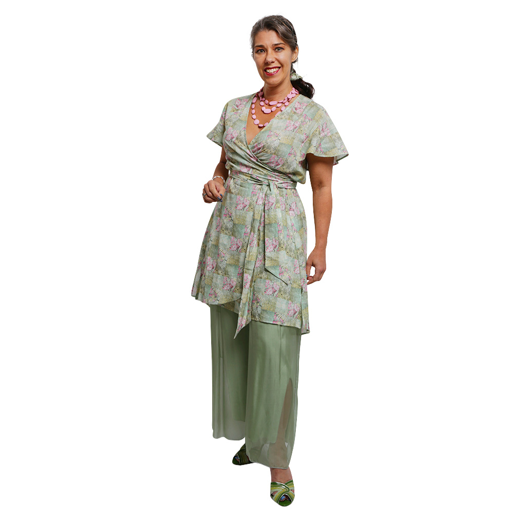 WRAP DRESS SPRING PATCHWORK F 2& SILK PANTS SAGE