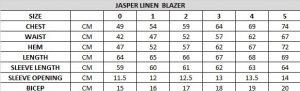 Jasper Linen Blazer Size Chart