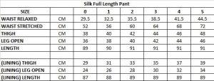 lk Full Length Pant Size Chart