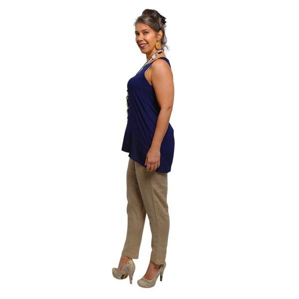 Camel Linen Pant Side