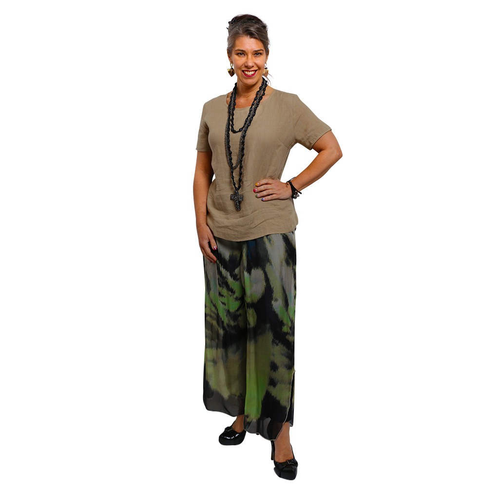 Linen Silk Pant - Waterfall