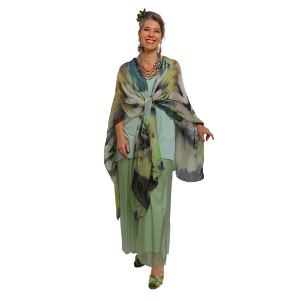 Silk Carmen Kaftan Waterfall Tied