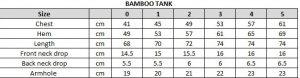 Bamboo Tank Size Chart