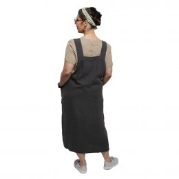 Reggie Linen Pinafore Dress - Charcoal