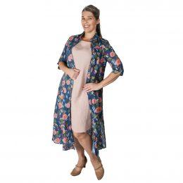Astrid Linen Maxi Jacket - Blue Rose