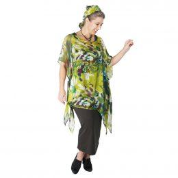Gloria Kaftan Silk Top - Chartreuse Pond