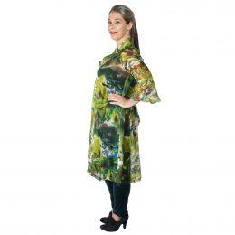 Mary 3/4 Sleeve Dress Silk - Chartreuse Pond