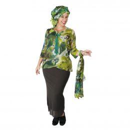 Nancy Crossover Silk Top - Chartreuse Pond