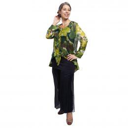 Wanda Silk Tie Jacket - Chartreuse Pond