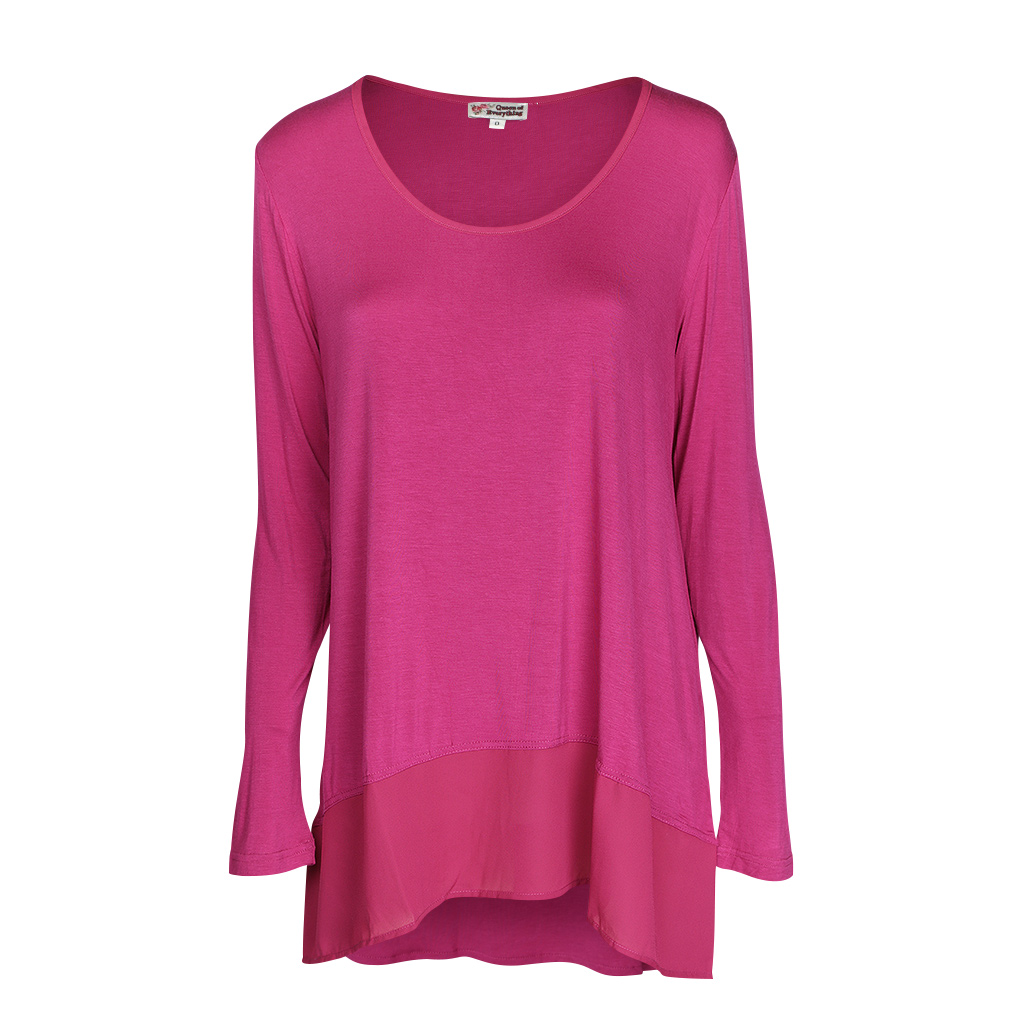 Kate Long Sleeve Tunic - Fuchsia