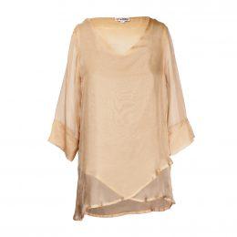 Nancy Crossover Silk Top - Tan