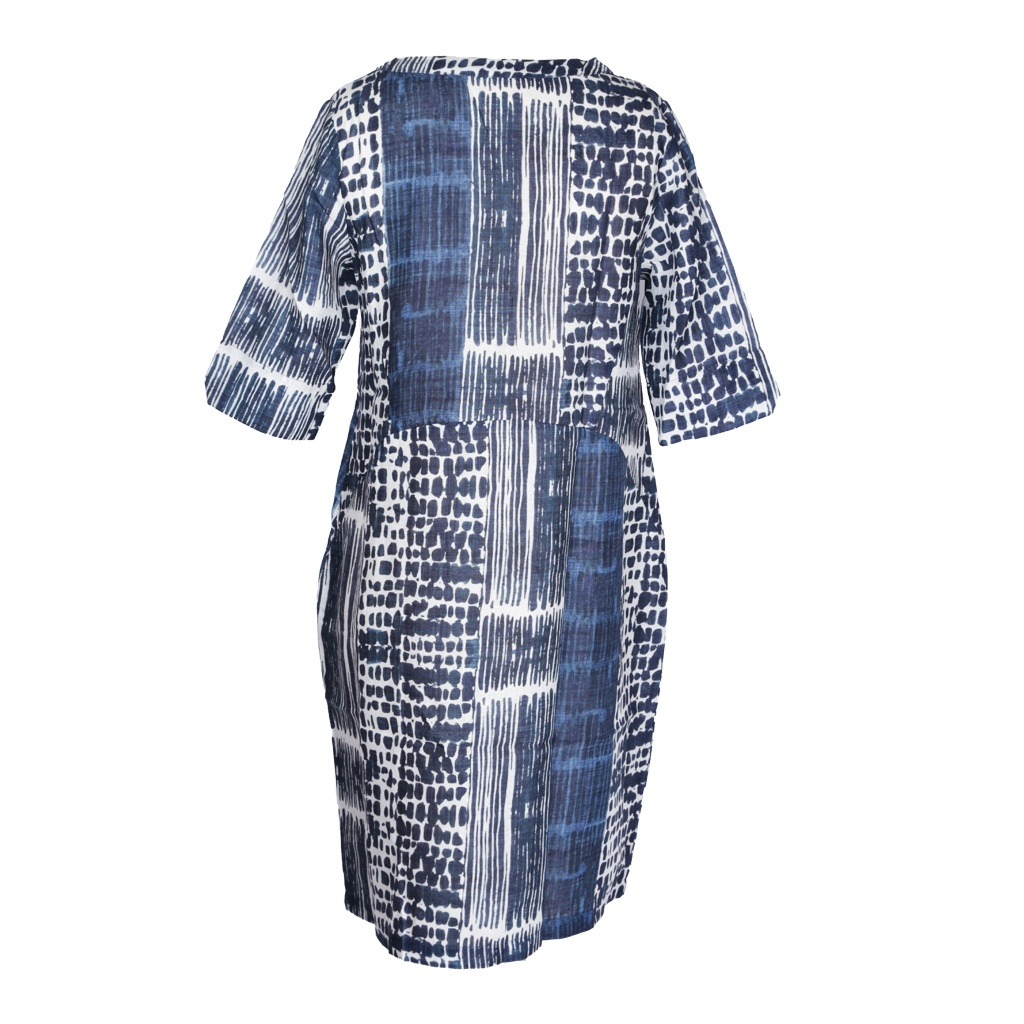 QOE 7006 LEXI LINEN TAB SLEEVE DRESS URBAN B