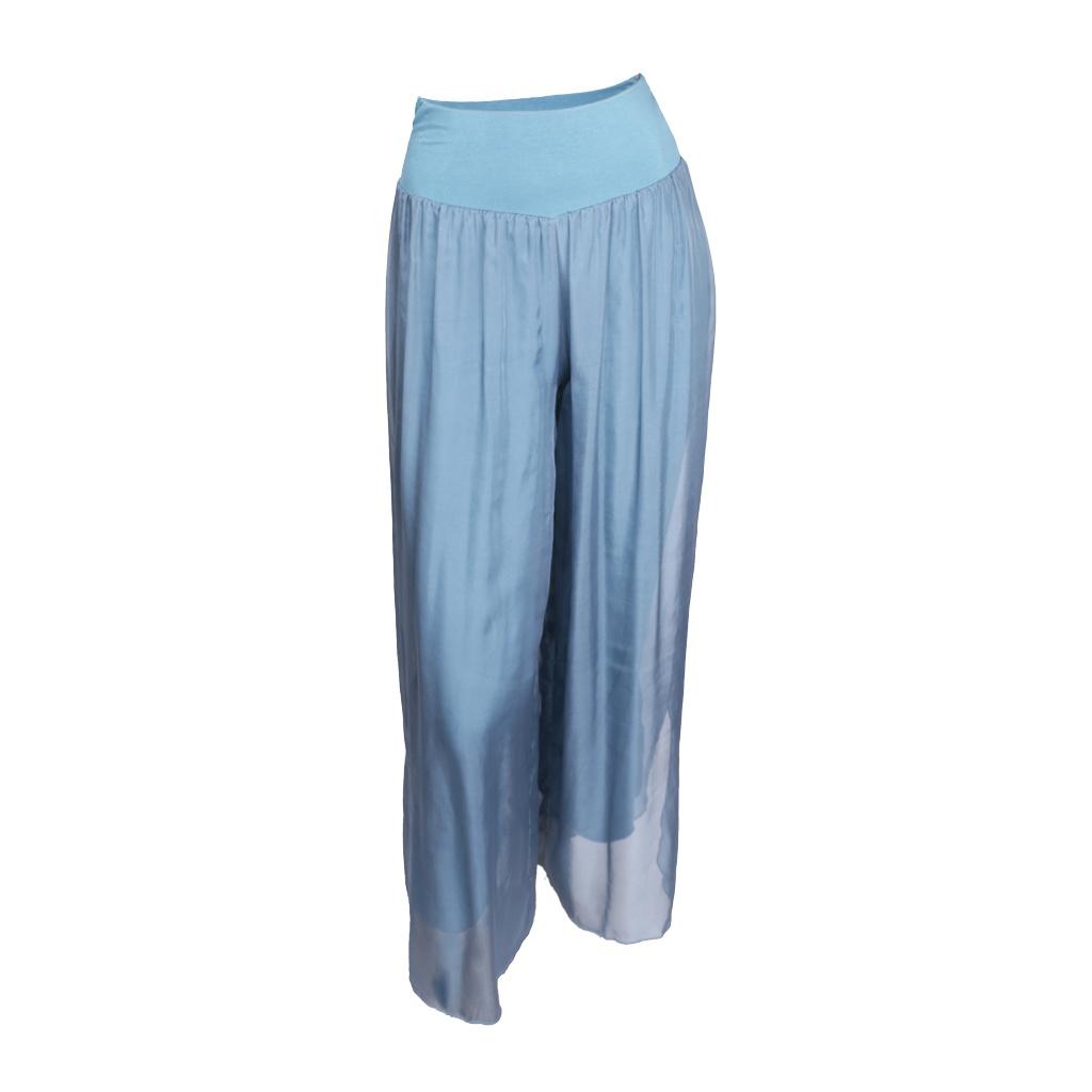 SILK PANTS FULL LENGTH BLUE METAL